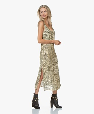Denham Monica Cupro Blend Printed Slip Dress - Leopard