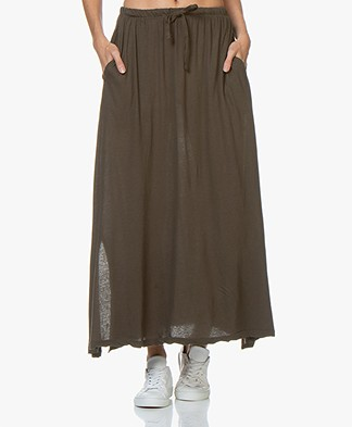 LDB Design By Cotton Jersey Maxi Skirt - Khaki