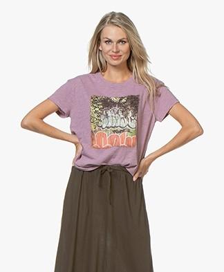 ba&sh Ted Slub Jersey T-shirt met Print - Mauve