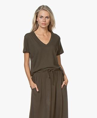 LDB Design By... Jersey V-hals T-shirt - Kaki