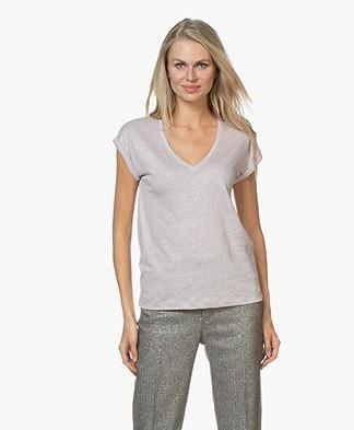 by-bar Mila Linnen Jersey T-shirt - Lila Grijs