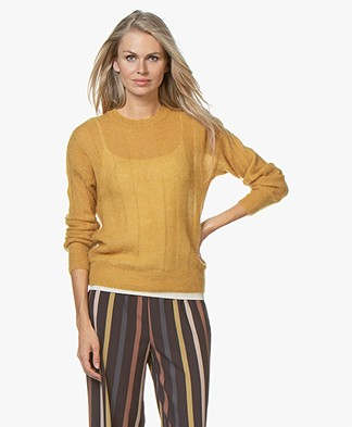 by-bar Gusto Mohair Blend Rib Pullover - Mustard