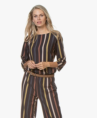 by-bar Dorris Striped Crepe Blouse - Midnight