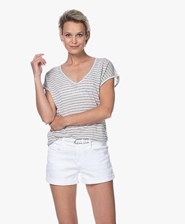 by-bar Mila Gestreept Linnenmix T-shirt - Linen