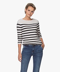 Belluna Pluto Striped Cotton Blend Sweater - Sand/Black