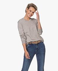 Denham Taylor Fine Knit R-neck Sweater - Grey Melange