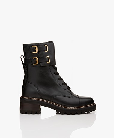 See by Chloé Combat High-top Leather Ankle Boots - Black