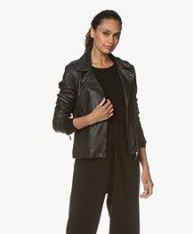 Repeat Luxury Leather Biker Jacket - Black