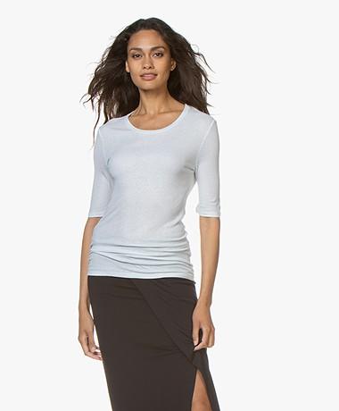 Majestic Filatures Lurex T-shirt with Half-length Sleeves - Silver Metallic