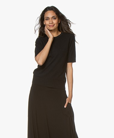Repeat Luxury Short Sleeve Cashmere Pullover - Black