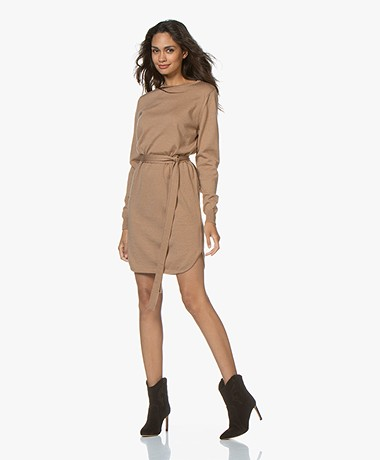 Sibin/Linnebjerg Juliette Sweater Dress with Optional Turtleneck Collar - Camel