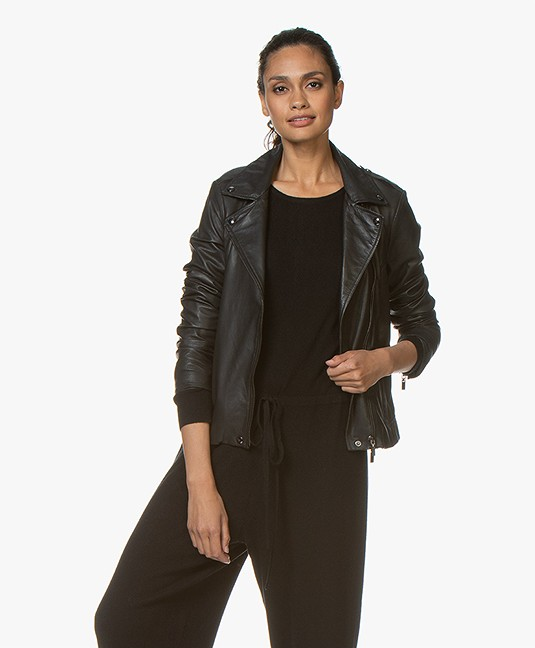 Repeat Luxury Leren Biker Jack - Zwart