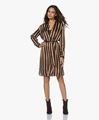 no man's land Striped Satin Shirt Dress - Cinnamon