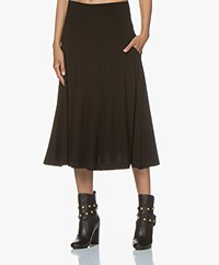 Norma Kamali Flared Midi Skirt - Black