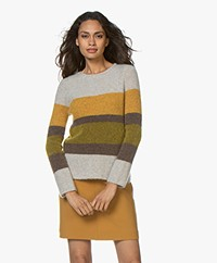 no man's land Striped Sweater with Mohair – Grey