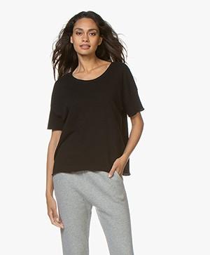 American Vintage Katoenen Boxy T-shirt - Zwart