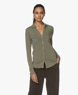 Majestic Filatures Viscose Jersey Blouse - Army