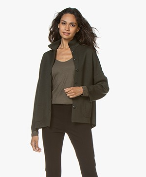 Sibin/Linnebjerg Spring Fine Knitted Cardigan - Army Green
