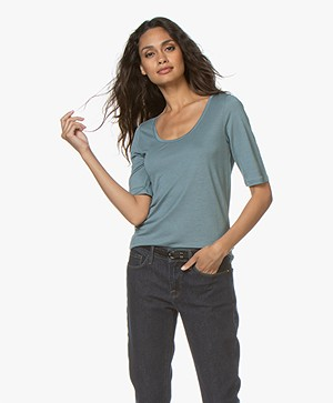 Filippa K Tencel Scoop Neck Tee - River