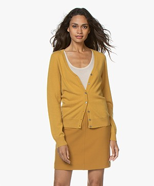 Repeat Cashmere V-neck Cardigan - Curry