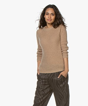 no man's land Round Neck Mohair Sweater - Paper Bag