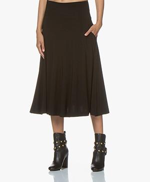Norma Kamali Flared Midi Skirt - Black