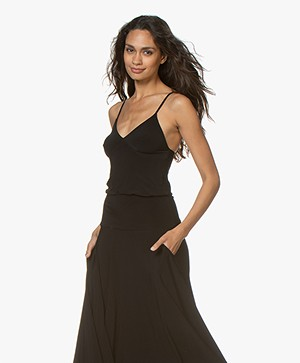 Norma Kamali Tech Jersey Slip Top - Zwart
