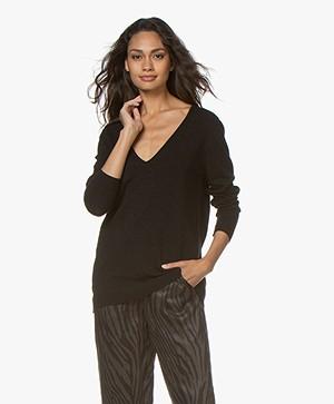 Sibin/Linnebjerg Loretto Lurex V-neck Pullover - Black