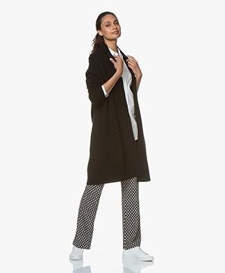 LaSalle Long Open Shawl Collar Cardigan in Wool Blend - Black