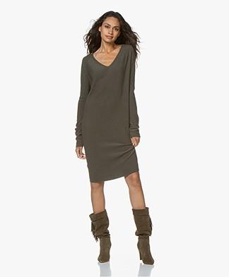 Drykorn Elmina Fine Knit Dress from Wool - Green
