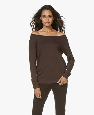 no man's land top Long Sleeve with Elasticated Neckline - Fondente
