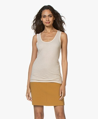 Majestic Filatures Lurex Tank Top - Golden Sand/Silver