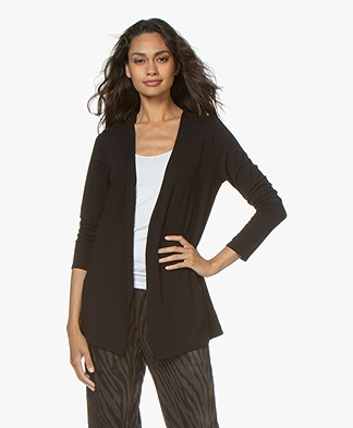 Majestic Filatures Soft Touch Jersey Cardigan - Black