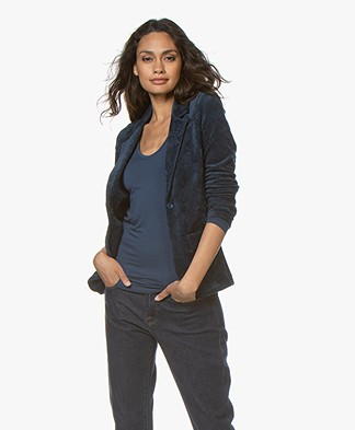 Majestic Filatures Rib Jersey Blazer with Cashmere - Bleu Nuit
