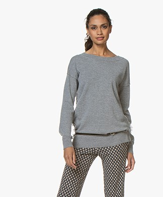 no man's land Wool Blend Sweater with Fringes - Concrete