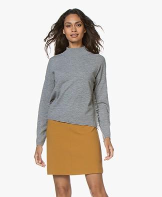 no man's land Turtle Neck Sweater with Fringes - Grey Melange