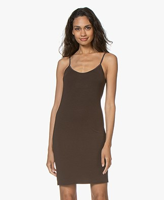 no man's land Viscose Jersey Slip Dress - Fondente