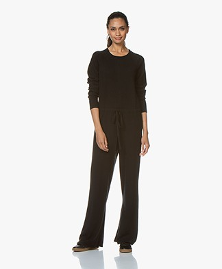 Repeat Knitted Jumpsuit with Cashmere - Black