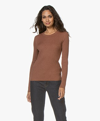 Repeat Rib Knitted Round-Neck Sweater - Chestnut