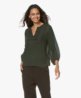 Vanessa Bruno Maddox Embroidered Blouse - Mousse Green