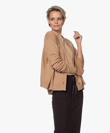 Drykorn Sontje Short Wool Blend Cardigan - Warm Sand