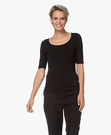 no man's land Viscose Half Sleeve T-Shirt - Black