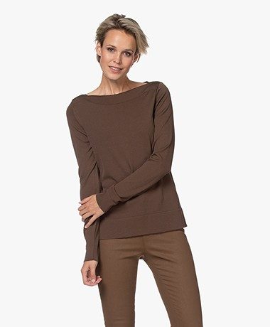LaSalle Fine Knit Boat Neck Sweater - Mocca