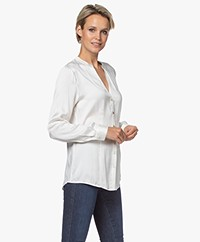 no man's land Getailleerde Stretch Zijden Blouse - Ivoor