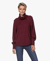 Repeat Merino Turtleneck Sweater with PointelleDetails - Wine