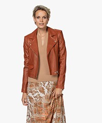 IRO Ashville Leather Biker Jacket - Brick