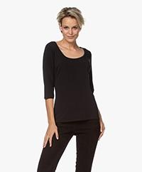 no man's land Viscose Driekwart Mouwen T-shirt - Zwart