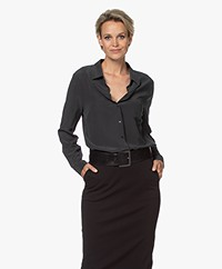 no man's land Gewassen Zijden Blouse - Dark Slate