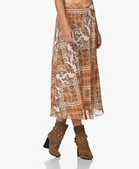 Kyra & Ko Lyvia Crepe Skirt with Paisley Print - Almond