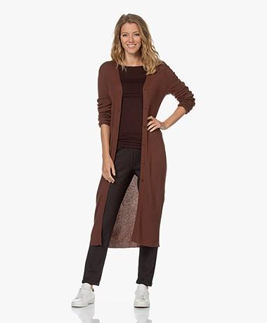 Drykorn Saira Long Rib Knitted Cardigan - Chestnut